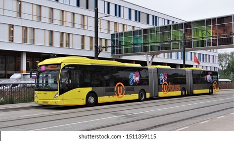 Utrecht / Netherlands - May 21 2019: A long (25 meter: double / bi-articulated) VanHool AGG 300 public transport bus in Utrecht at the busy line 12 Utrecht Railway Station - Uithof / Science Park.