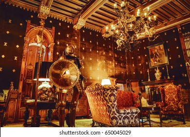 UTRECHT, NETHERLANDS - MAY 27, 2017: Luxury interior of Castle de Haar. It was built by the master of the Dutch Neo-Gothic Kuipers, for members of the Rothschild family. Utrcht, Netherlands - May 27.