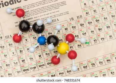 UTRECHT, THE NETHERLANDS, NOVEMBER 3, 2017: Plastic ball-and-stick model of the systemic herbicide glyphosate (chemical formula: C3H8NO5P) with a detail of the periodic table of elements as background
