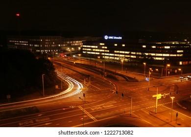 Utrecht, The Netherlands - November 5th 2018: UMC Utrecht hospital at night.