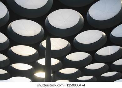 UTRECHT, NETHERLANDS - OCTOBER 20, 2018: futuristic Rooftop of shopping mall Hoog Catharijne