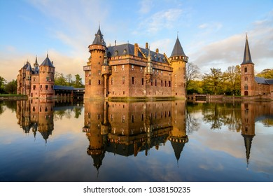 UTRECHT, THE NETHERLANDS - OCTOBER 29, 2017: De Haar Castle or Kasteel de Haar surrounded by water reflection in the lake, largest castle of Holland, near Amsterdam & Haarzuilens, Utrecht, Netherlands