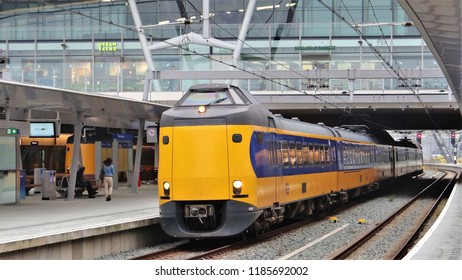Utrecht / Netherlands - September 25 2017: A Dutch NS Intercity trein (ICMm) at the modern central railway station of Utrecht, the busiest train station in the Netherlands!