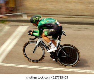 UTRECHT, NETHERLANDS-JUL 4: A cyclist of pro cycling team Europcar during the Tour du France prologue time trial. July 4, 2015 in Utrecht, The Netherlands