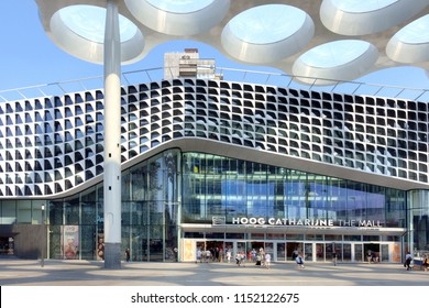 "UTRECHT,HOLLAND-AUGUST,02,2018:Shopping Mall ""Hoog Catharijne"", is a modernized shopping centre, next to the Central Station of Utrecht. Special is the architectural design of the `ceiling`"