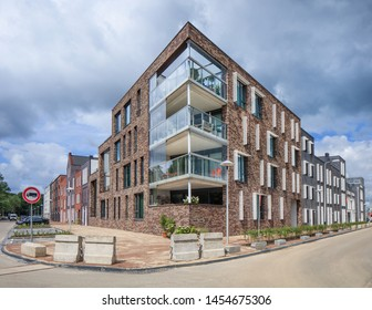 UTRECHT-JULY 25, 2017. Modern apartment building on a corner. House prices are rising at an accelerating pace in the Netherlands, due to strong demand and inadequate housing supply.