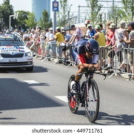 UTRECHT,NETHERLANDS JUL 4: The cyclist Jarlinson Pantano Gomez of IAM Cycling Team riding during the stage 1 (individual time trial) of Le Tour de France 2015 in Utrecht,Netherlands on 04 July 2015