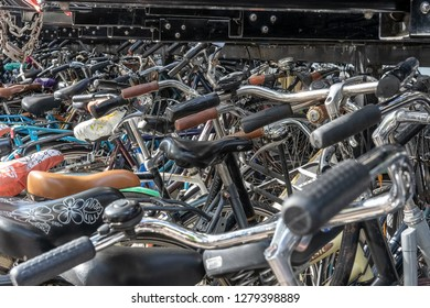 UTRECHT-OCTOBER 14, 2018.  The cities in the Netherlands are notorious for the large amounts of bicycles that are parked everywhere, often to the annoyance of pedestrians.