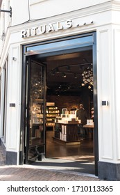 Utretch / Netherlands - September 20, 2020 : External facade of Rituals cosmetics store shop on a high street location.  Shows store entrance, logo, branding and signage.