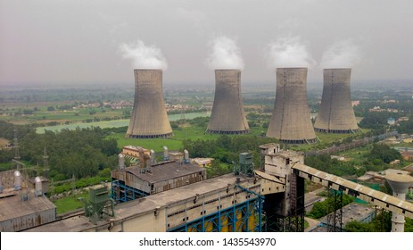 Uttar Pradesh, India -  July 9 2013: Picture of cooling towers of thermal power plant