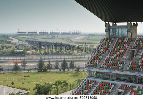 UTTAR PRADESH, INDIA - SEPTEMBER 01, 2016 : Buddh International Circuit is an Indian motor racing circuit in Greater Noida, Uttar Pradesh, India, 40 km from Delhi.