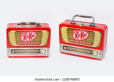 Uttaradit Province, Thailand June 9, 2018 Box of candy choc chocolate brands KitKat shaped radio for collectors. Released in Thailand.