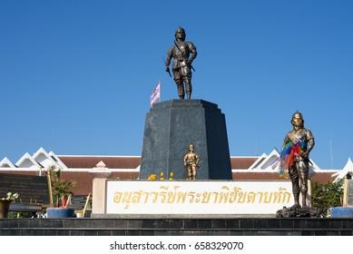 Uttaradit, Thailand- December 14, 2016: Monument of Phraya Phichai Dap Hak, Thai hero who fighting with Burmese troop until one of his sword was broken during the 18th century.