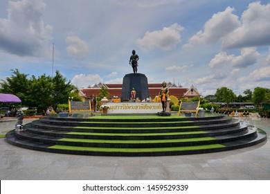Uttaradit, Thailand - July 21, 2019 : Phraya Phichai Dap Hak (Lord Phichai of the Broken Sword) Memorial located at Mueang District
