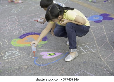 UTTARADIT,THAILAND - FEB 14 : Sand art on the street,Festival of  UTTARADIT smile, Exhibition space for creative people of all ages have fun learning through play and art activities on FEB 14, 2016