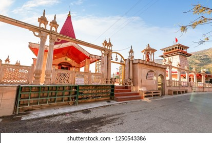 Uttarakhand, India, October 24,2018: Hanuman Garhi temple exterior structure at Nainital Uttarakhand India. Hanuman Garhi temple is a popular tourist destination with a giant statue of Lord Hanuman.