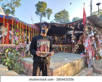 uttarakhand,india-3 may 2020:chitai temple.this is a picture of chitai temple in almora city.temple full of letters and bells.