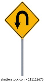 U-turn road sign isolated on white
