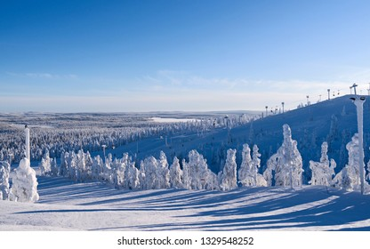 uusamo / Finland: Magnificent view to the south from Saarua top in Ruka ski area on a beautiful day in February