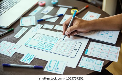 ux designer creative graphic planning application development for web mobile phone. User experience concept.