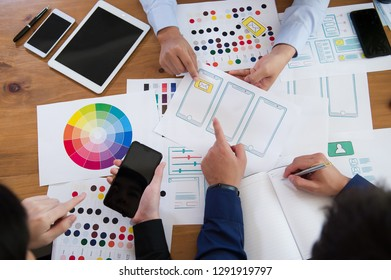 ux designer creative Graphic planning application development for web mobile phone . User experience concept