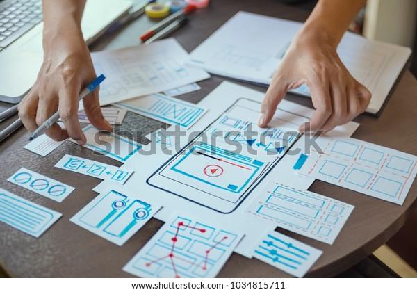 ux Designer Creative Graphic Planning Applikation für Web Mobile . Benutzererlebniskonzept.