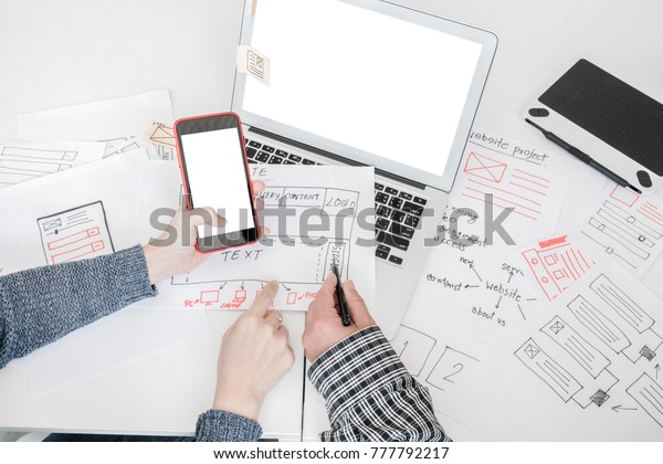 Ux Designer Designing Designers Web Brand Stock Photo (Edit
