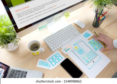 Ux Graphic designer creative sketch planning application process development prototype wireframe for web mobile phone . User experience concept. - Image