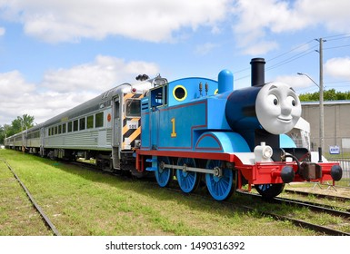 Uxbridge, Ontario, Canada - August 19, 2019: Thomas the tank engine seen parked at York-Durham Heritage Railway in Uxbridge for Day Out with Thomas The Steam Team Tour.