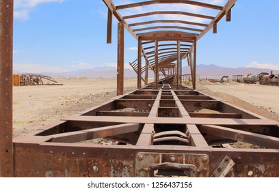 UYUNI, BOLIVIA DEC, 2018: Uyuni, Bolivia. Old railway. train cemetery on Bolivian altiplano.
