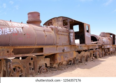 UYUNI, BOLIVIA DEC, 2018: Rusty old steam train in the Train Cemetery, in Uyuni, Bolivia near the salt flats