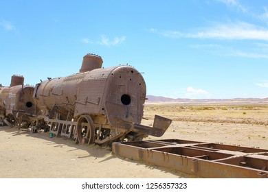 UYUNI, BOLIVIA DEC, 2018: Uyuni, Bolivia. Rusty old steam locomotive. train cemetery on Bolivian altiplano.