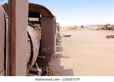 UYUNI, BOLIVIA DEC, 2018: Train Cemetery, in Uyuni, Bolivia near the salt flats. Rusty old steam train.