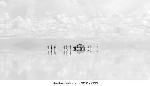 UYUNI, BOLIVIA - JANUARY 05, 2014: Salar de Uyuni is largest salt flat in the World (UNESCO World Heritage Site) - Altiplano, Bolivia, South America (black and white)
