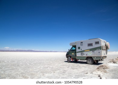 Uyuni, Bolivia - October 31, 2015: A 4x4 camper van parked in the Salar de Uyuni