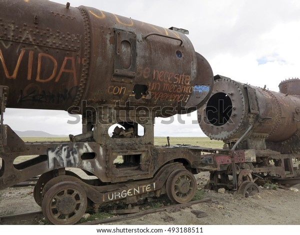 UYUNI, BOLIVIA, SOUTH AMERICA - JAN 26, 2014 - abandoned trains in uyuni desert, bolivia