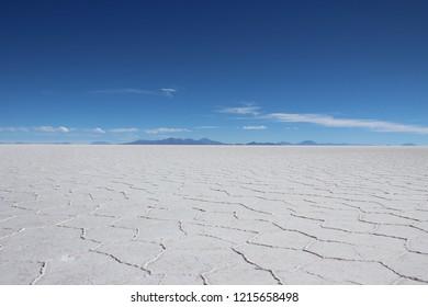 Uyuni Salt Flats, a vast white desert. Uniqueness nature from Bolivia. Salar de Uyuni.