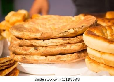 Uzbek cake traditional national food in Uzbekistan. Eastern cuisine. Asia flapjack.