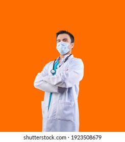 Uzbek man doctor wearing mask in pandemic isolated style colorful background.