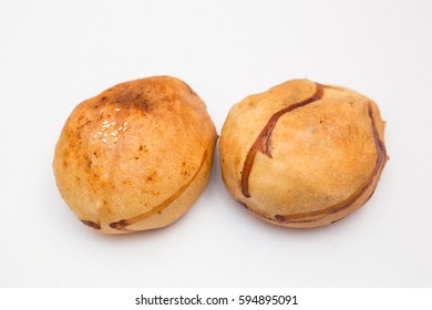 Uzbek national samosa on a plate isolated on a white background