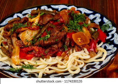 Uzbek traditional lagman with meat