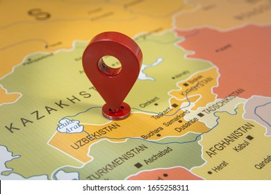Uzbekistan country map in focus on world map with location GPS icon world map Tashkent Capital city map