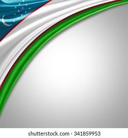 Uzbekistan flag   of  silk with copyspace for your text or images
