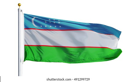 Uzbekistan flag waving on white background, close up, isolated with clipping path mask alpha channel transparency