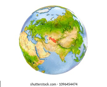 Uzbekistan highlighted in red on model of Earth. 3D illustration isolated on white background. Elements of this image furnished by NASA.