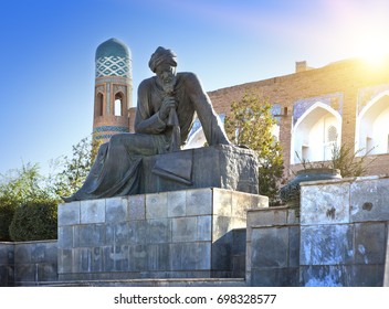 UZBEKISTAN, KHIVA,-SEPTEMBER 20, 2015: Statue of Muhammad ibn Musa al-Khwarizmi - famous scientist born in 783,  'algorithm'  reminds us of him because his name was rendered as Algoritmi in Latin.