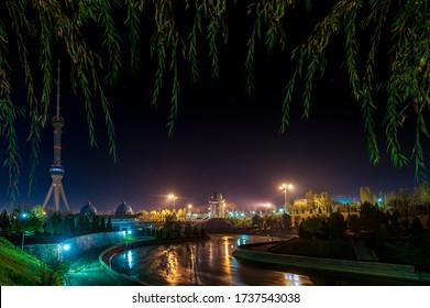 Uzbekistan. Night Tashkent. Area for victims of repression. Xotira maydoni. TV tower