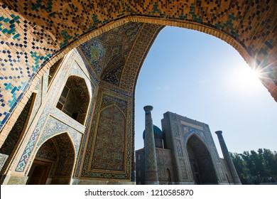 Uzbekistan October 18, 2018 ancient city of Samarkand Registan square, Ulugbek Madrasah, Tillya Kari Madrasah