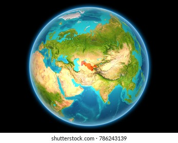 Uzbekistan in red on planet Earth as seen from space on full sphere. 3D illustration. Elements of this image furnished by NASA.