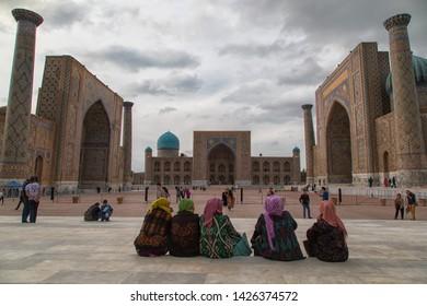 Uzbekistan Samarkand - April 17, 2019 The Registan square and its three Madrasah in  Samarkand, Uzbekistan